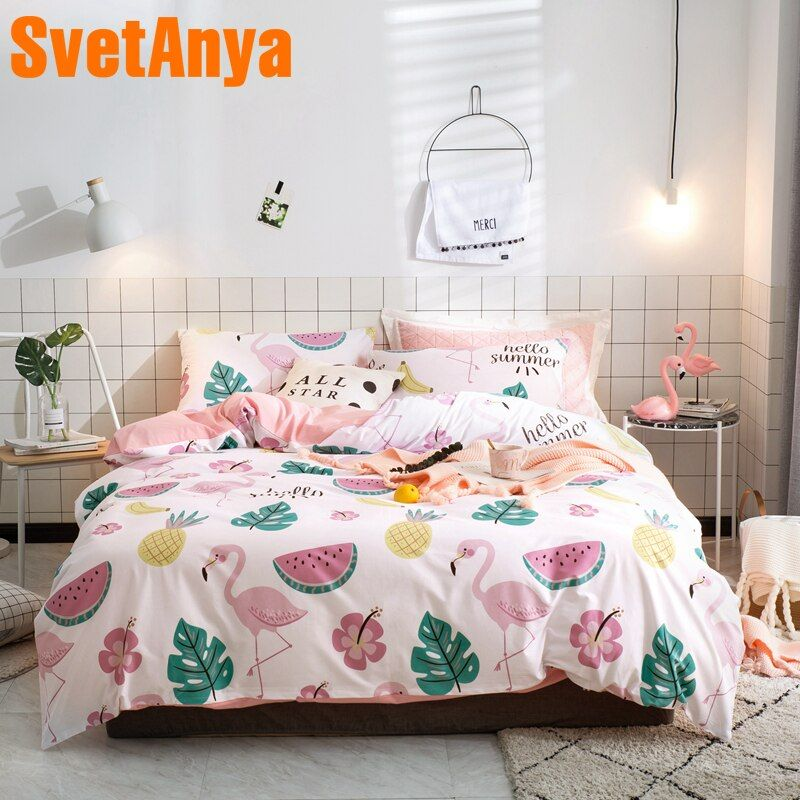 Svetanya Flamingo Wassermelone Druck Blatt Kissenbezug Bettbezug Sets Baumwolle Bettwäsche Twin Doppel Königin König Größe Bettwäsche Set