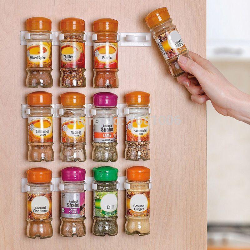 Spice Rack Spice Wall Storage Plastic Kitchen Organizer Rack 12 Cabinet Door Hooks 3PCS/SET Kitchen Accessories S002