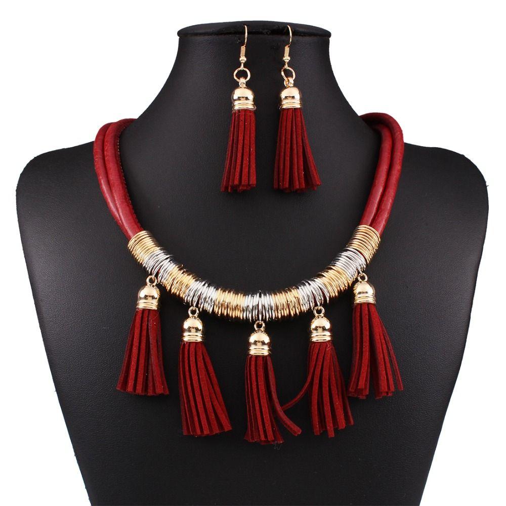 Erklärung Halsketten Mode Afrikanische Schmucksachen Für Hochzeiten Leder Quaste Halskette und Ohrring Set N3701