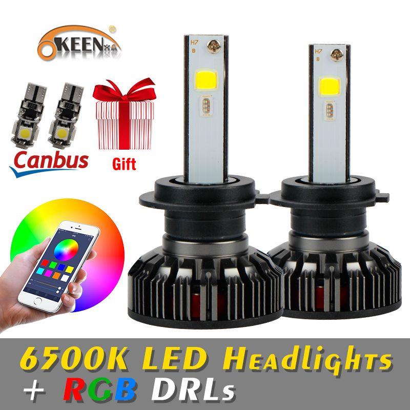 OKEEN H4 LED Bulbs RGB LED headlight H7 APP Bluetooth Control H1 H3 H8 H11 HB3 HB4 Car LED Light Headlamp muticolor LED bulbs