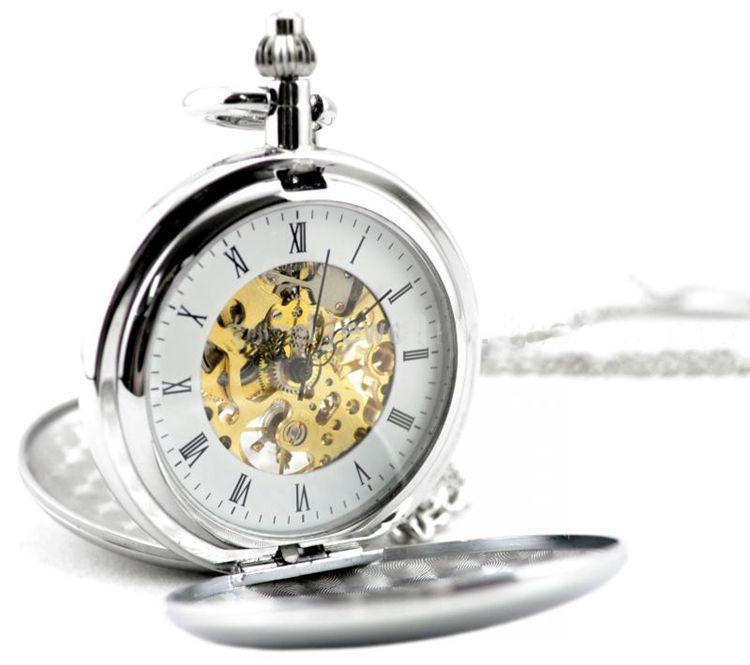 Moda elegancia mens automático antiguo Relojes automáticos collar vintage plata para hombre auto-viento ocasional Militar reloj de bolsillo