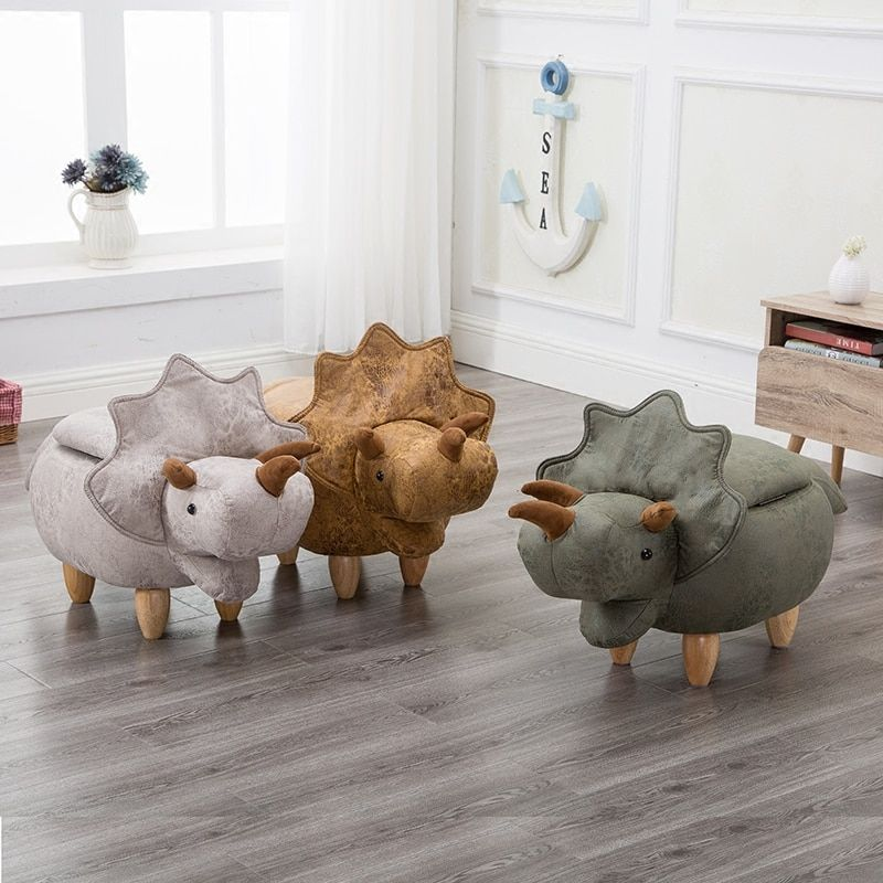 Dinosaur Shape Creative Wooden Footstool Sturdy Storage Shoe Bench Sofa with Bronzing Fabric Wooden Legs Multicolor