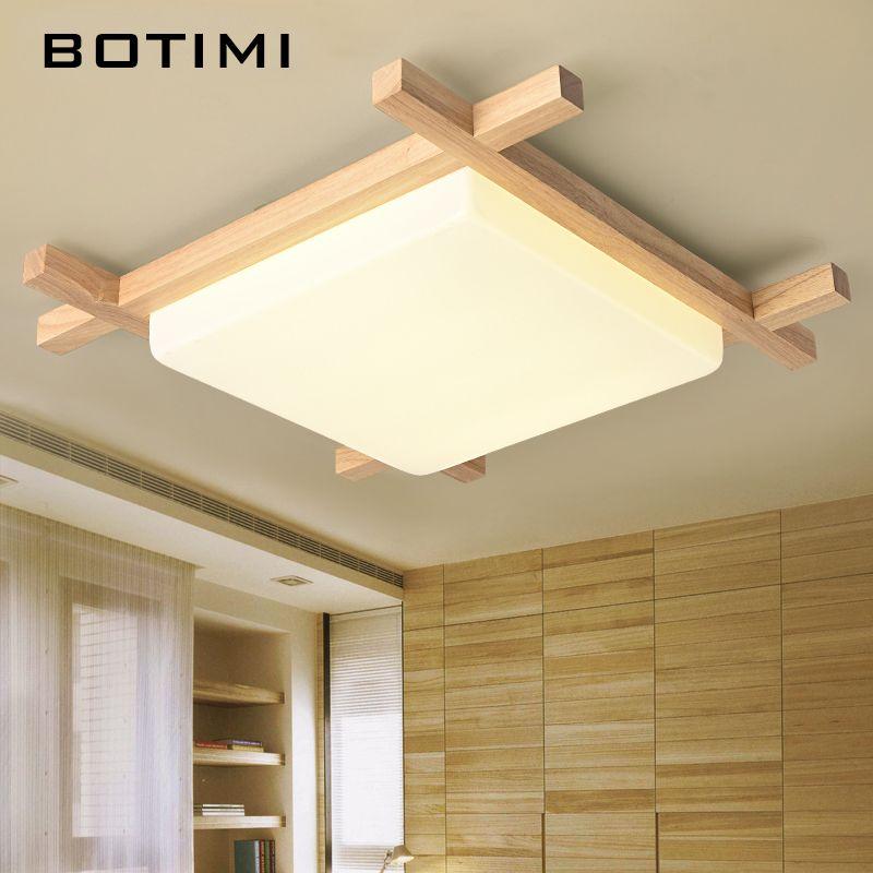 BOTIMI LED nordique en bois plafonniers en forme carrée lampara de techo pour chambre balcon couloir cuisine luminaires