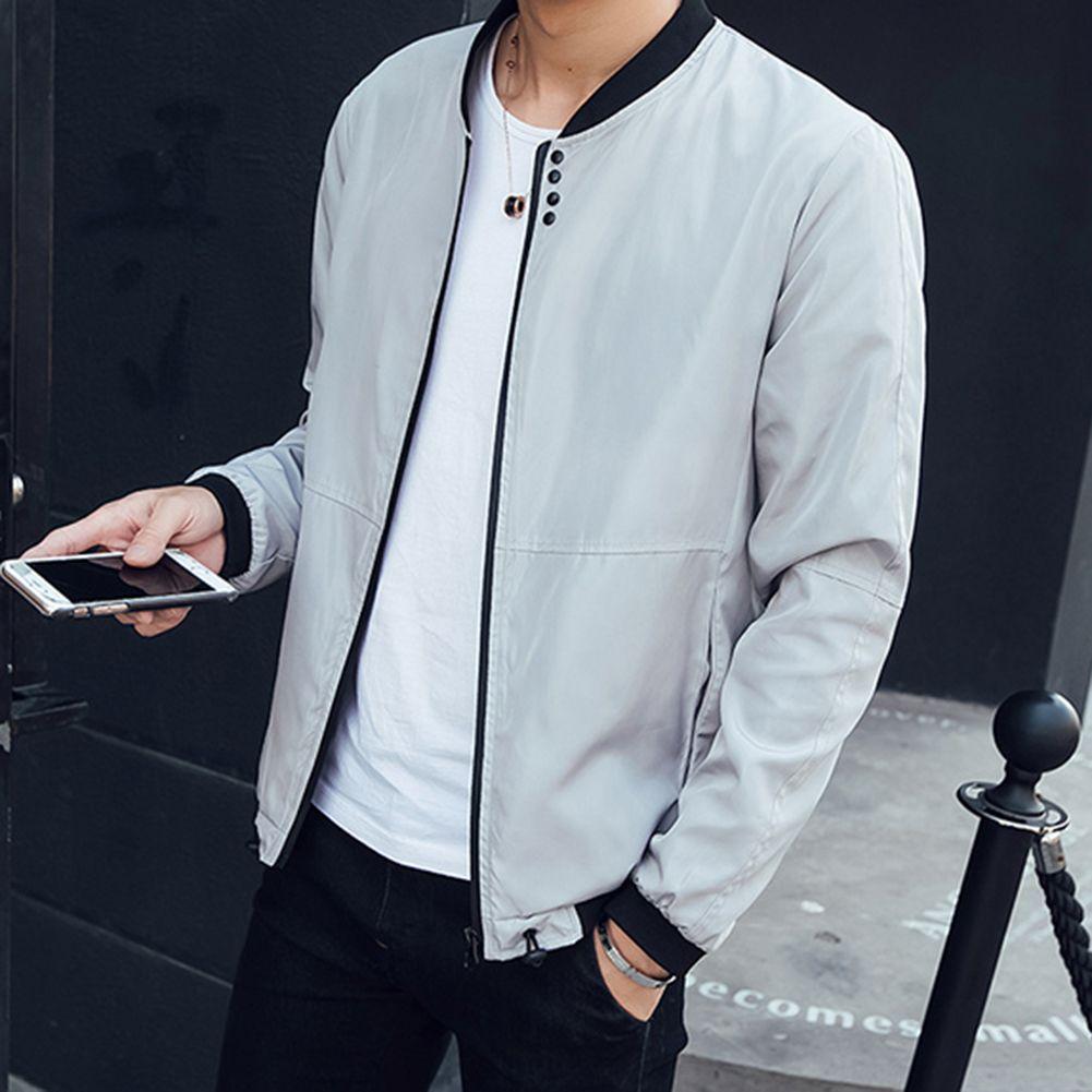 De manga larga de algodón Capa delgada otoño Outwear casual chaqueta de cremallera