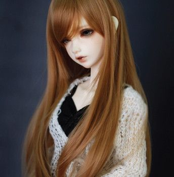 Newest Style 1/4 Bjd Wig High Temperature Long Brown Bjd Wig SD For BJD Doll Free Shipping