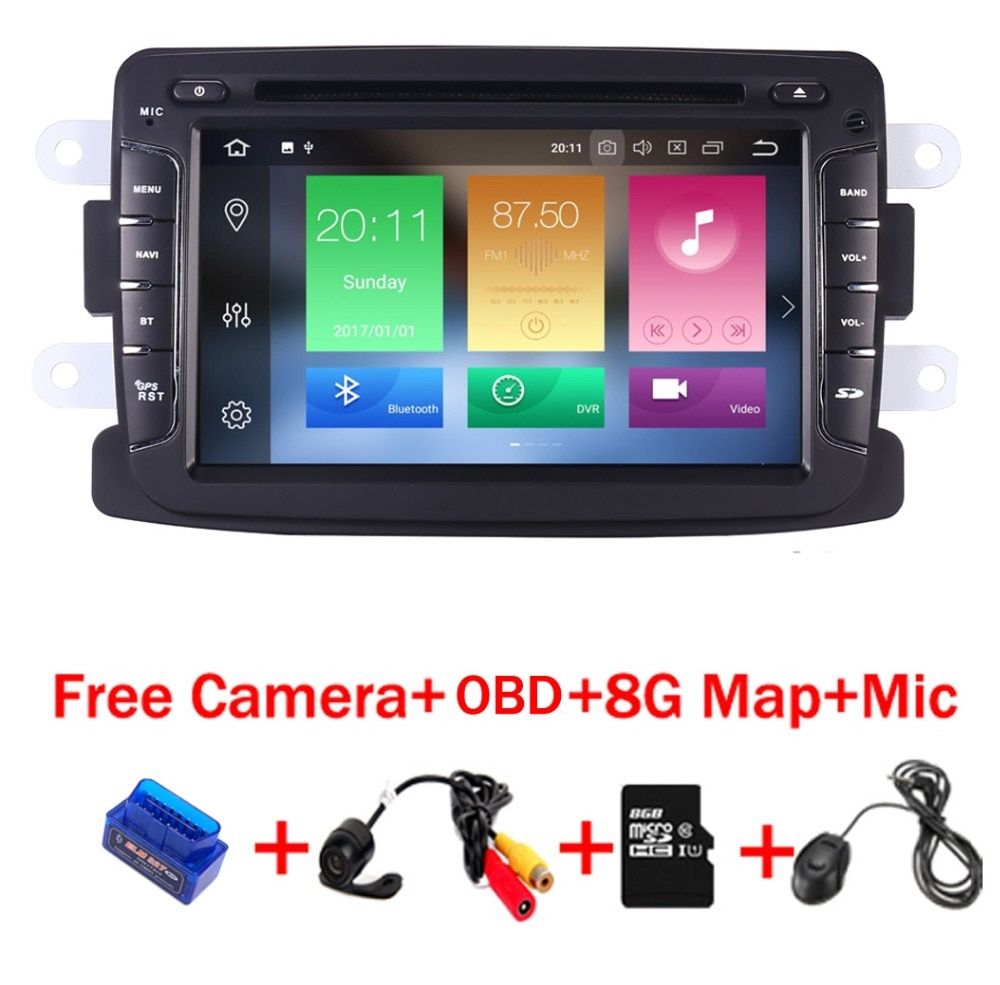 4G+32G 7 inch Android 8.1 Car DVD Player For Renault Dacia Sandero Duster Lada Xray 2 Logan 2 4G WIFI GPS Navigation Radio OBD