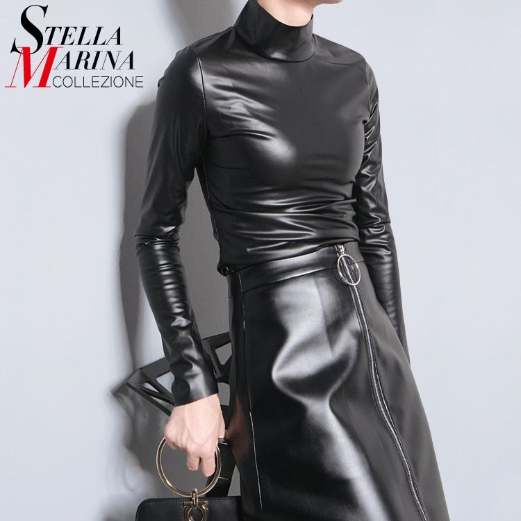 New 2016 Japanese Style Women Autumn Black Faux Leather PU Tee Top <font><b>Long</b></font> Sleeve Harajuku T shirt Turtleneck Slim Sexy T-shirt 781