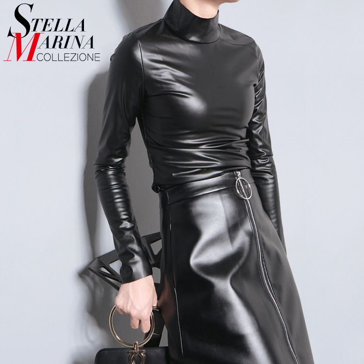 Nouveau 2019 Style japonais femmes automne noir Faux cuir PU T-shirt haut à manches longues Harajuku T-shirt col roulé Slim Sexy T-shirt 781