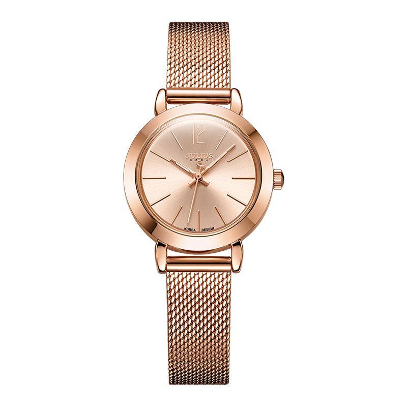 JULIUS JA-732 femme argent Rose or ton maille en acier inoxydable Quartz analogique étanche montre-bracelet décontracté