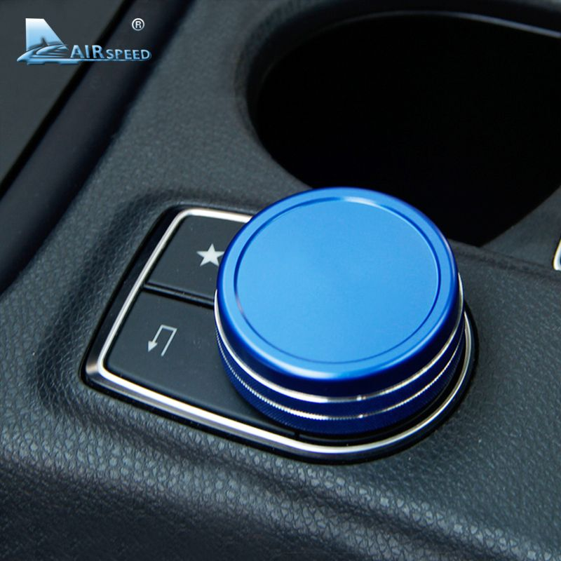 Airspeed 1 piece Car Middle Control Function knob trim cover for Mercedes Benz GLK GLA CLA GLE ML GL A,B,E class car-styling