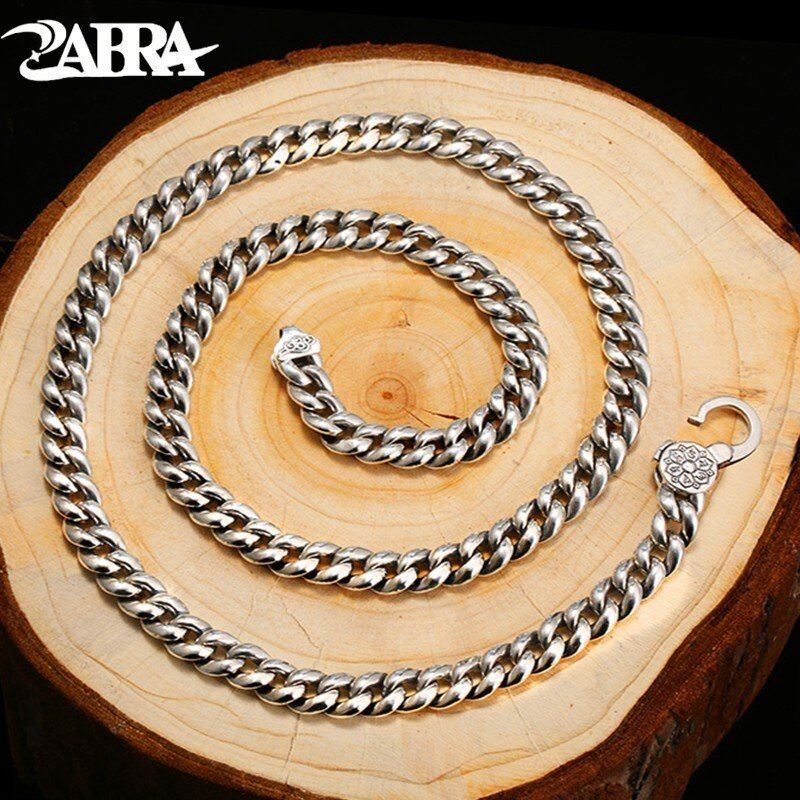 ZABRA Religion Solid 925 Sterling Silver Necklace Men Buddhism Mantra High Polished Long Chain Punk Retro Style Biker Jewelry