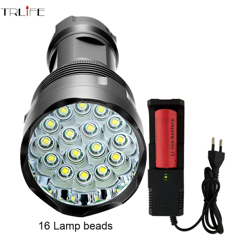 48000 Lumen High Power Flashlight 16 *CREE XML-T6 Powerful LED <font><b>Flash</b></font> light with 26650 battery waterproof torch lanterna camping