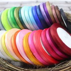 6 MM 25 Meters Silk Length Meter Beautiful Satin Ribbon Wedding Invitation Card Party Decoration Scrapbooking Wrap Supplies Riba