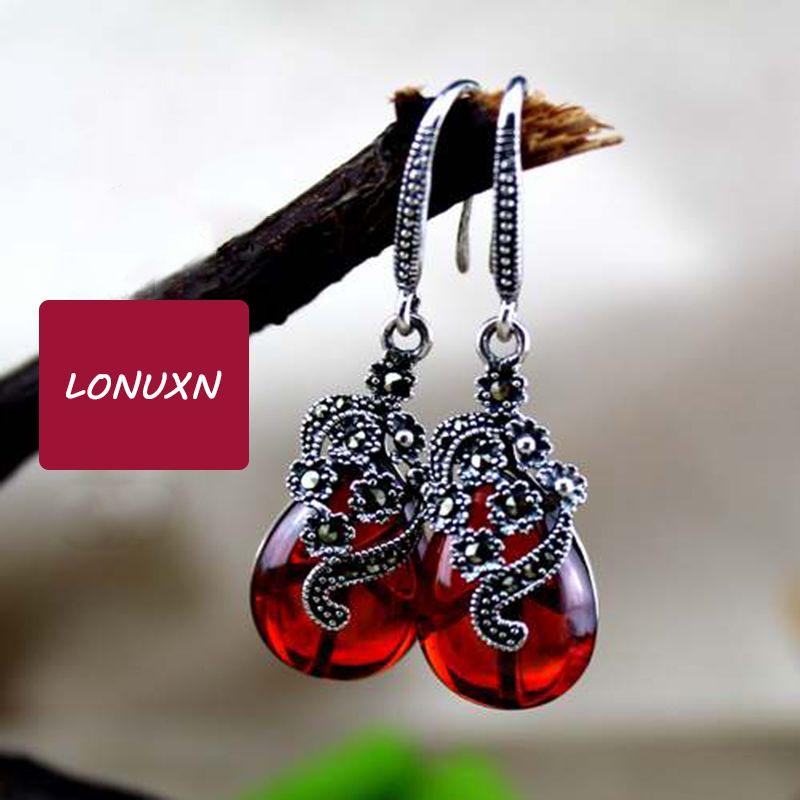 4cm 925 Sterling silver Semi-precious stones Garnet Earrings Fashion Retro Dangle Earrings red Women jewelry girlfriend gift