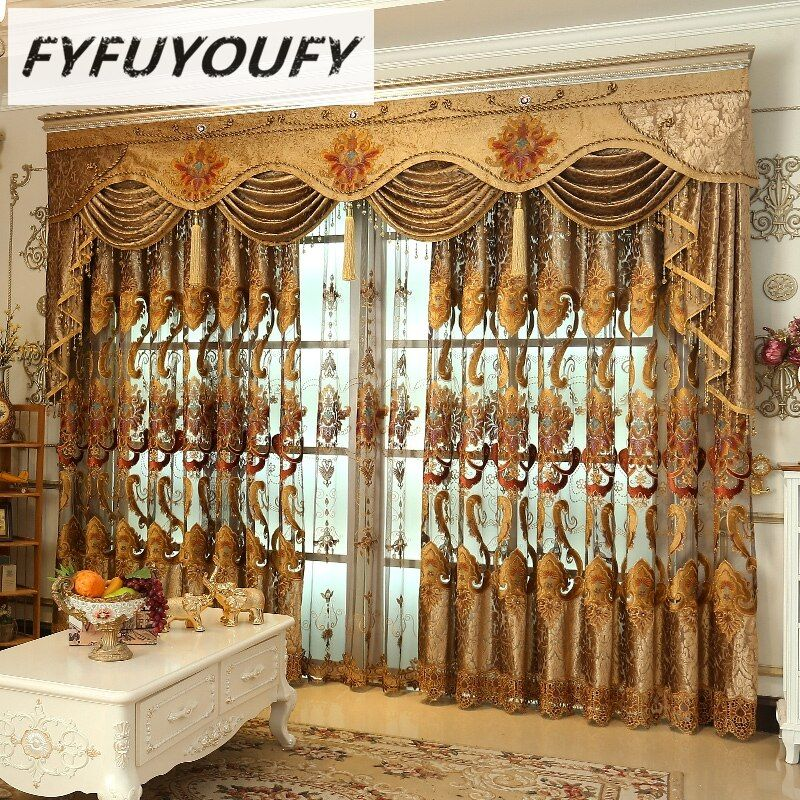 FYFUYOUFY Luxe Rideaux Occultants Pour Salon Fleurs broderie rideaux pour fenêtres stores en tissu tulle rideaux