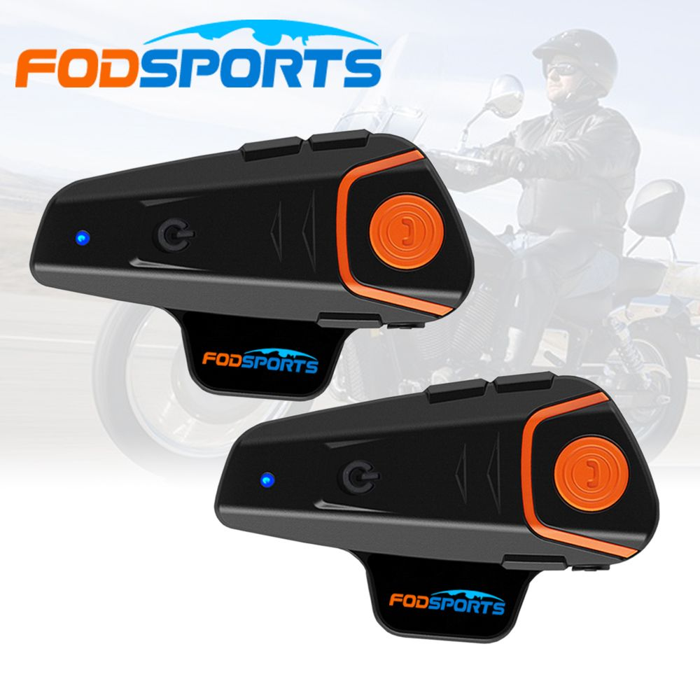 2018 Fodsports 2 pcs BT-S2 Pro motorcycle helmet intercom motorbike wireless bluetooth Headset waterproof BT Interphone with FM