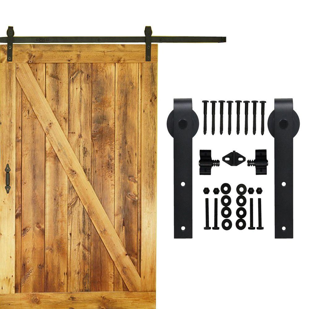 5-16 PIES de una sola corredera granero hardware de la puerta de madera interior top mounted rustic negro sliding barn door hardware