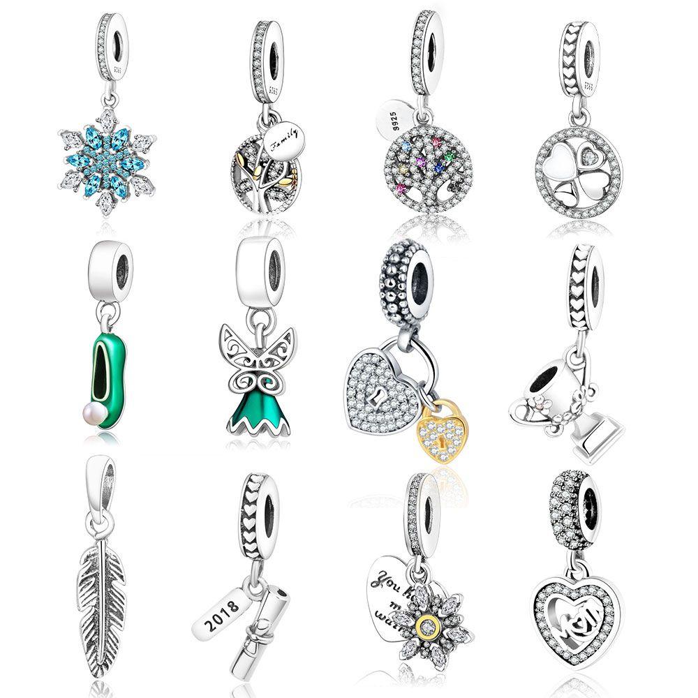 En gros 925 Flocon de neige En Argent Sterling Perle Charme Fit D'origine Pandora Charme Bracelet Pendentif Authentique BRICOLAGE Bijoux Accessoires