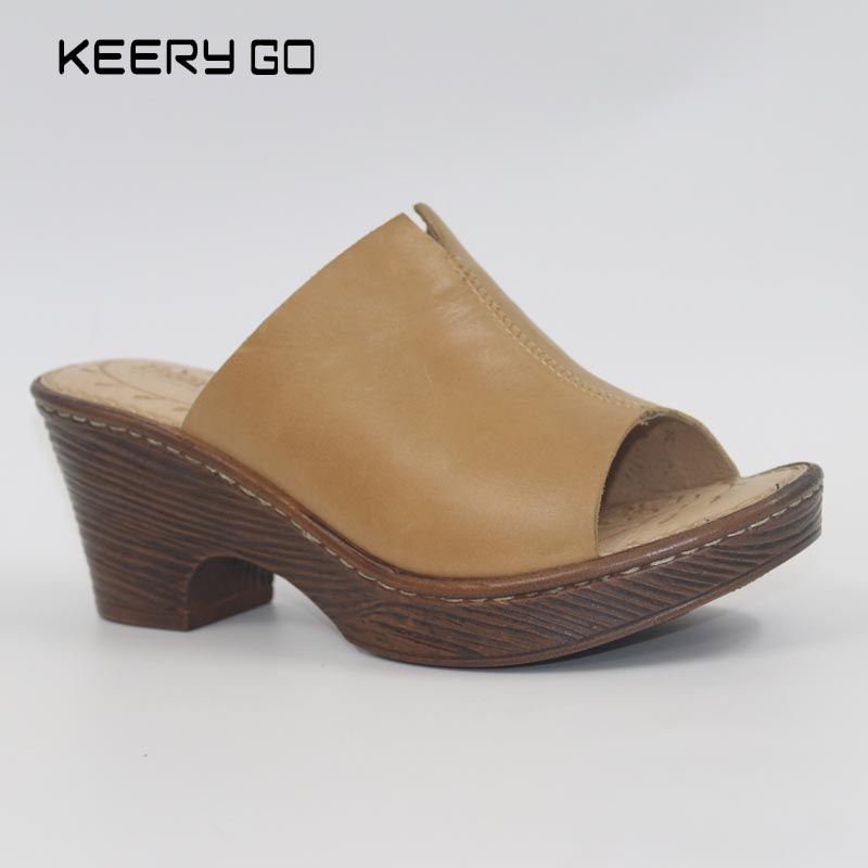 Магазин при фабрике высокого качества первый слой на высоком каблуке кожаные босоножки US5-9