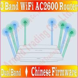 Chin-Firmware, 8 Antena TP-LINK 3 Band Router Nirkabel 802.11AC 2600 Mbps Dual Band 2.4G + 5G AC2600 Besar Akses Internet Nirkabel, gigabit Porsts * 5