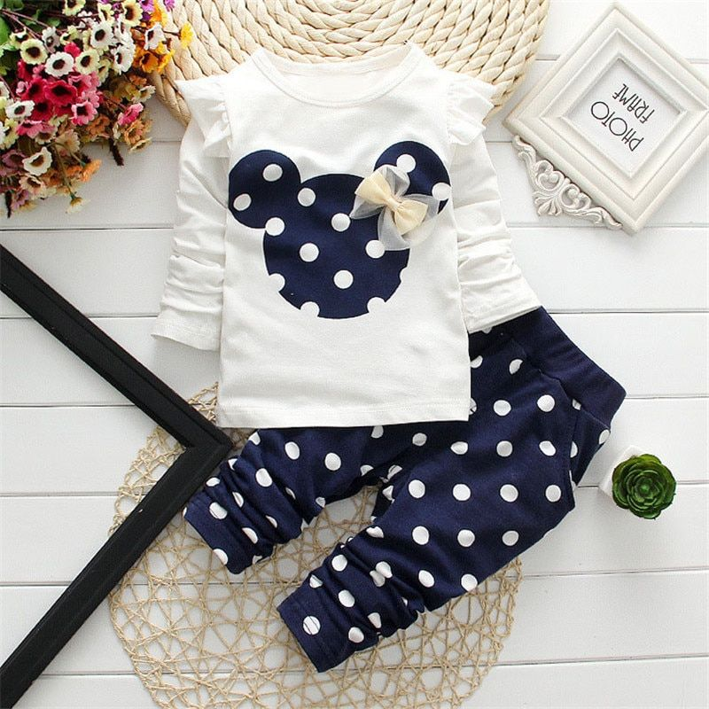 2018 New Kids Clothes Girl Baby Long Rabbit Sleeve Cotton Minnie Casual Suits Baby Clothing Retail Children Suits Free Shipping