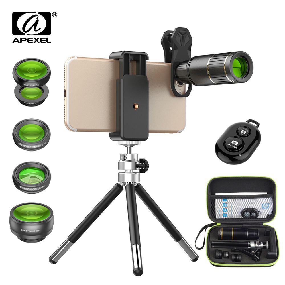 APEXEL 5in1 Kit de lentilles de téléphone avec boîte 16x HD Fisheye grand Angle téléphone portable caméra objectif trépied pour Smartphones Samsung Huawei