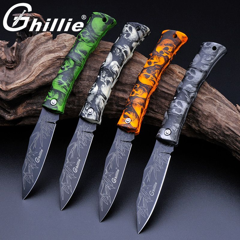Ghillie G131-A Cool Folding Pocket Knife Camping Survival Knife, Mini Blade Fruit Knife, ABS Ghost Handle Beautiful Fift Knife