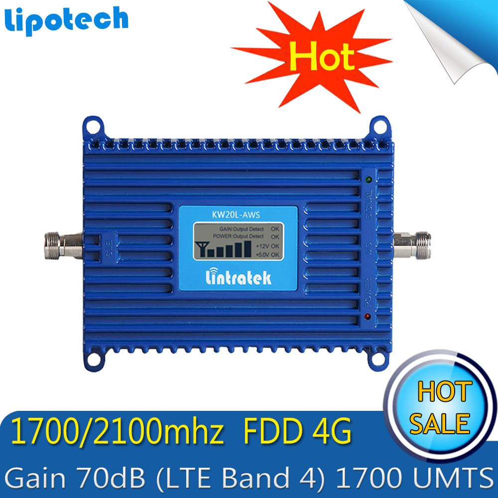 Lintratek 70dB Gain AWS 1700/2100 Amplifier FDD 4G LTE (Band 4 )Cell Phone Signal Repeater Cellular AWS Booster
