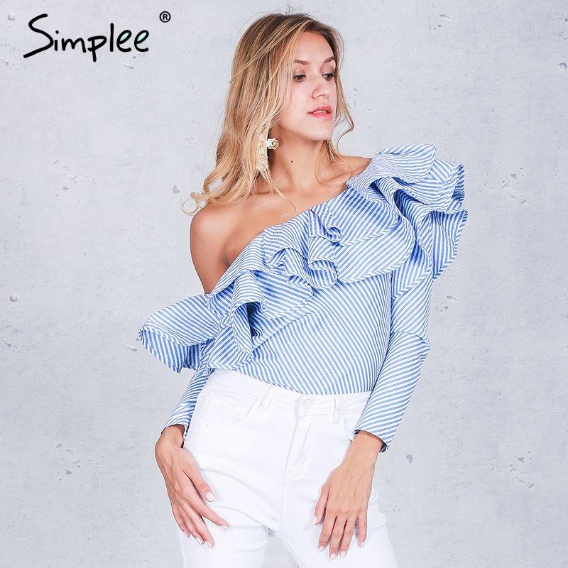 Simplee One shoulder ruffles blouse shirt women tops 2016 autumn Casual blue striped shirt Long sleeve cool blouse <font><b>winter</b></font> blusas