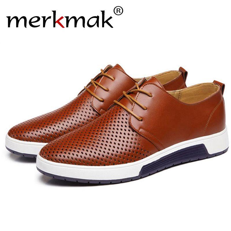 Merkmak 2017 Hot Sale Men's Shoes Leather Holes Design Summer Breathable Shoes Spring <font><b>Autumn</b></font> Business Men Flats Sapato Masculino