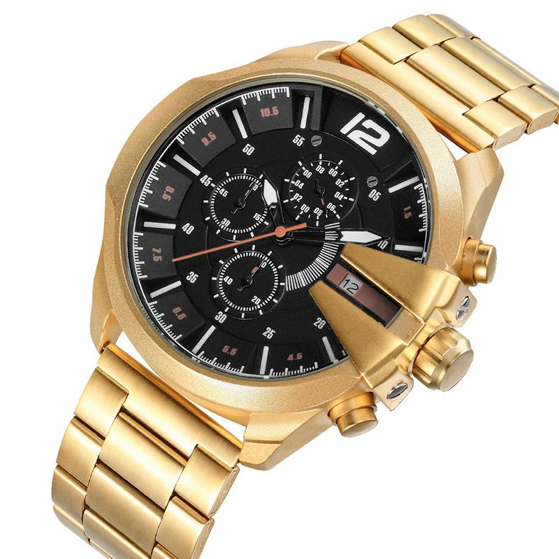 SKONE Gold Stainless Steel Wrist Watch