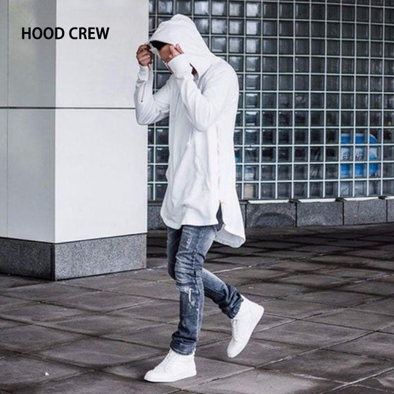 Fashion 2018 HOOD CREW Brand Mens High Streetwear Hooded Hoodies Homme Pullover Sweatshirts High Quality H03