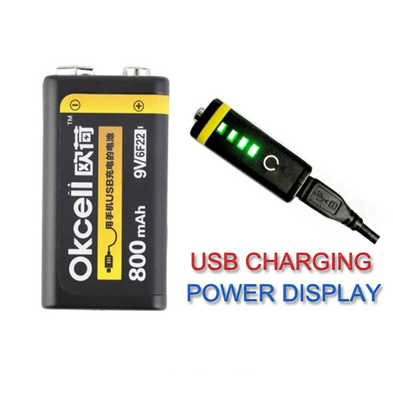 OKCELL 9V batterie Rechargeable 800mAh USB Portable OKcell Micro USB Batteries pour hélicoptère RC modèle Microphone Bateria