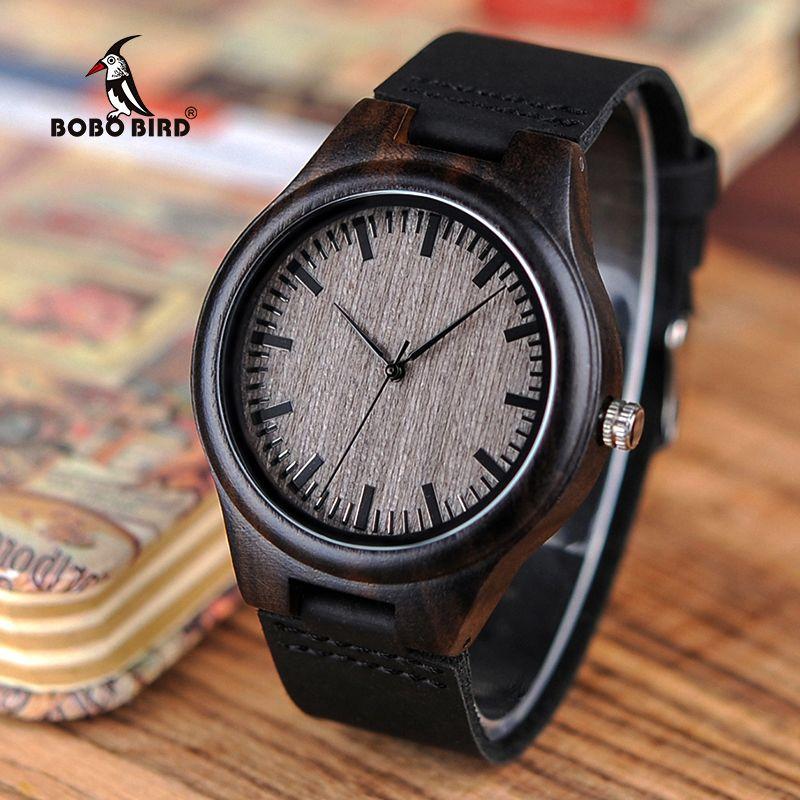 BOBO BIRD Antique Watch Men's Handcraft Quartz Wristwatches Wood Crazy Horse Leather Band Montre Homme