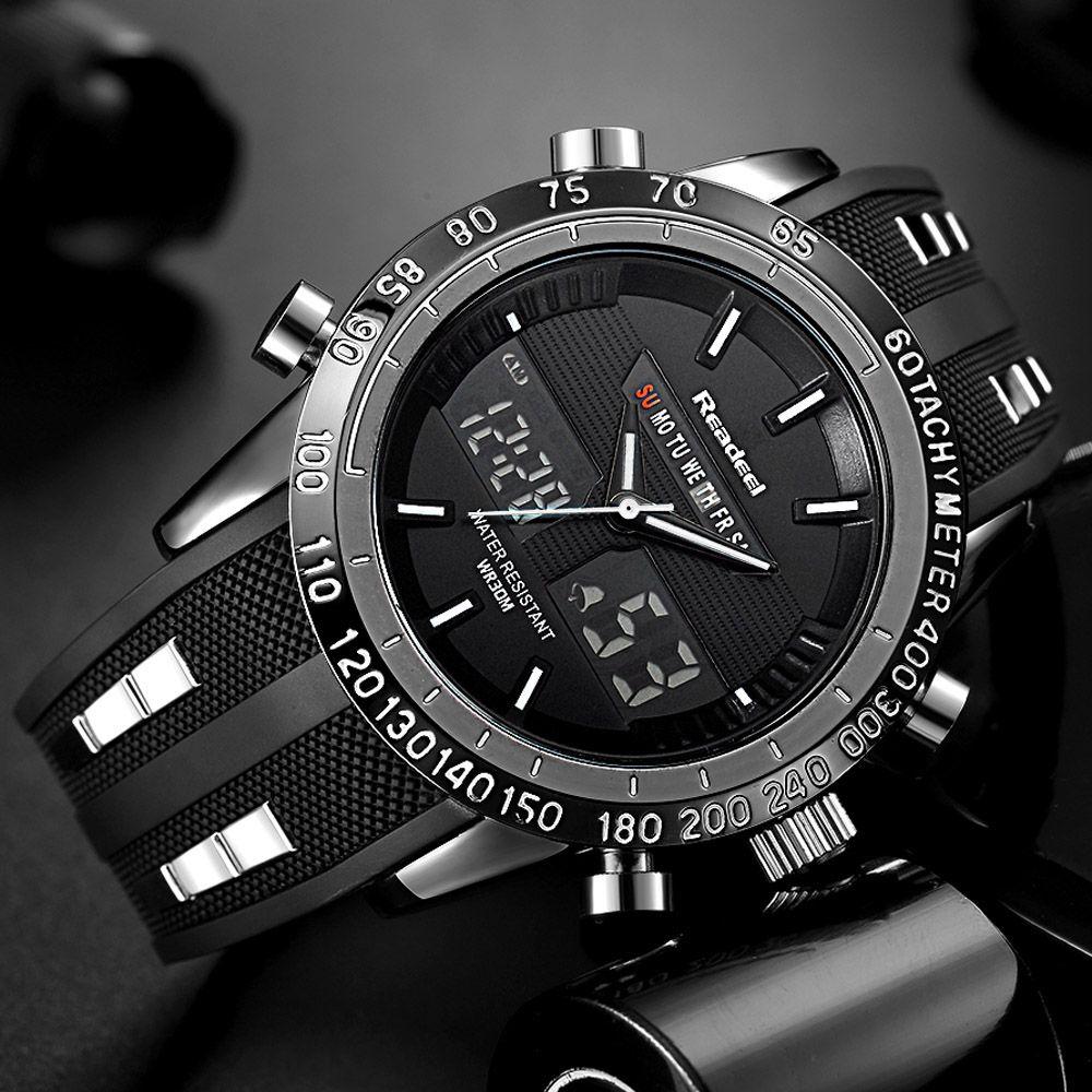 Элитный бренд Часы Для мужчин Спортивные часы Водонепроницаемый светодиодный цифровой кварцевые Для мужчин Военное Дело наручные часы муж...