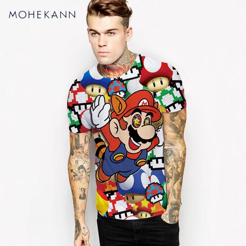 Mohekann Harajuku Мультфильм Стиль 3D футболка джемпер Супер Марио Pattern Топы корректирующие Мужская футболка верхняя одежда мода Рубашки с коротким...
