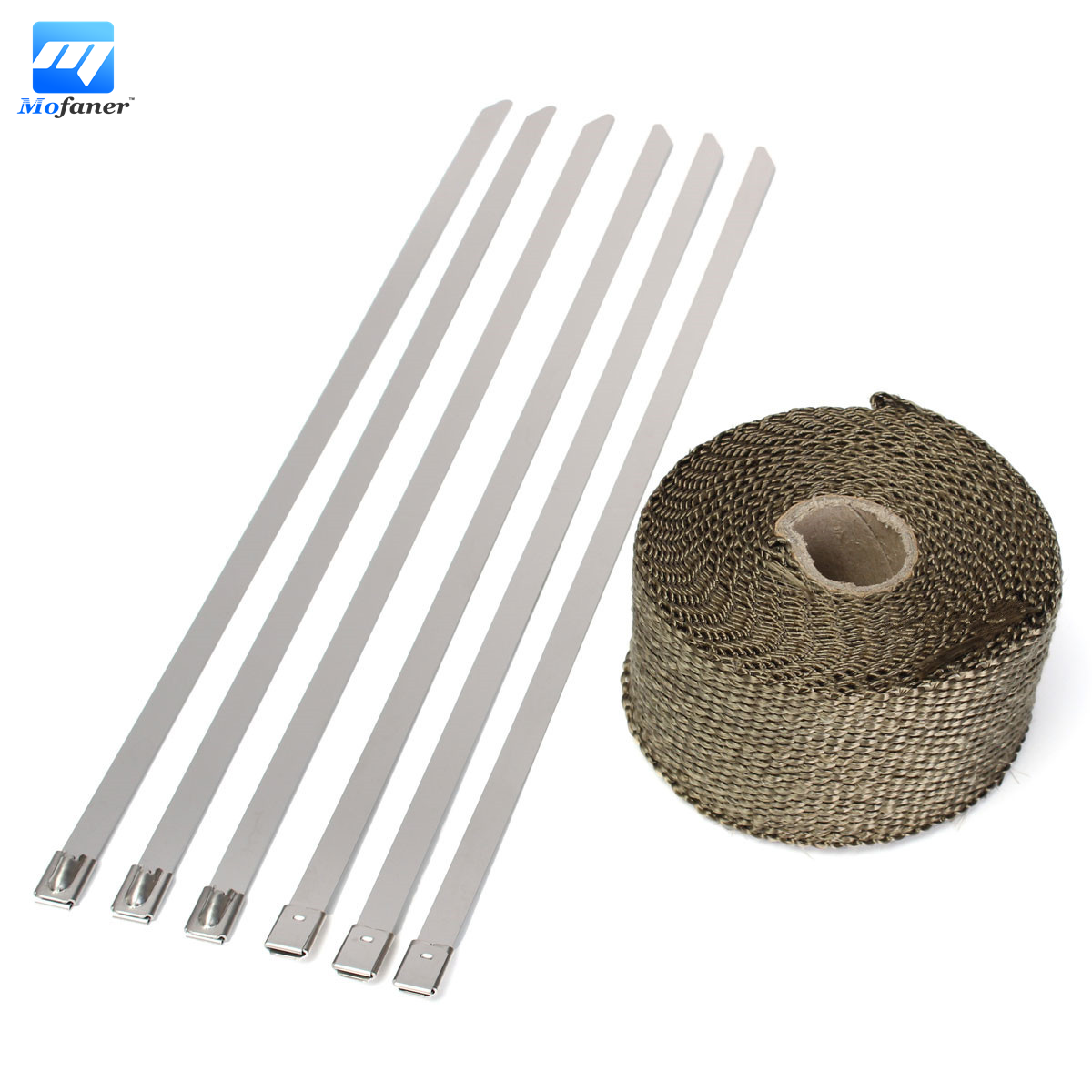 5M Titanium Exhaust Heat Wrap Roll Cable Pipe Tape With 6 Stainless Ties Kit