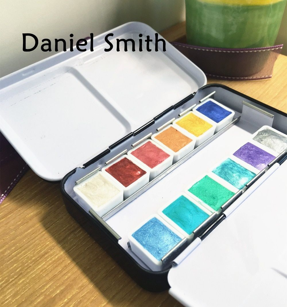 Daniel Smith DS Pearlescent Watercolor Pearlescent 12 pearl Color Iron Pack Dispensing plate