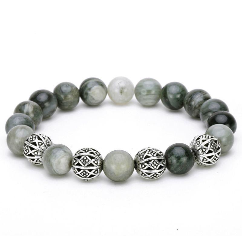 Mcllroy Bracelets Bracelet men 10mm Green natural stone beaded bangles Silver hollow transfer beads pulseira feminina Bileklik