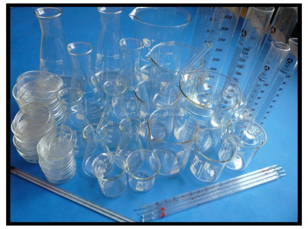 Laboratory Lab Glassware Kit, Pyrex Glass Material (Beaker, Erlenmeyer flask, Measuring Cylinder, Petri Dish, thermometer)