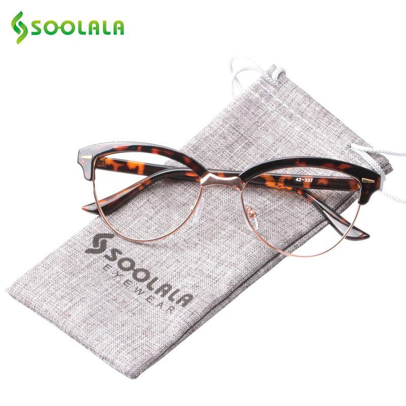 SOOLALA Semi-sans monture Oeil de Chat Lunettes de Lecture Femmes Hommes Lunettes Grossissantes Presbytie lunettes de Lecture + 0.5 1.5 2.5 à 4.0