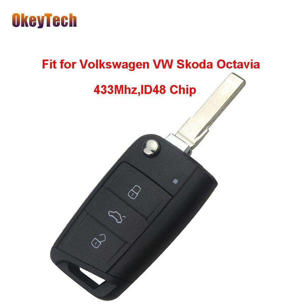 Okeytech оригинальный 433 мГц ID48 чип 3 Кнопка флип складной нож Дистанционное управление ключ для Volkswagen VW Skoda Octavia Бесплатная доставка