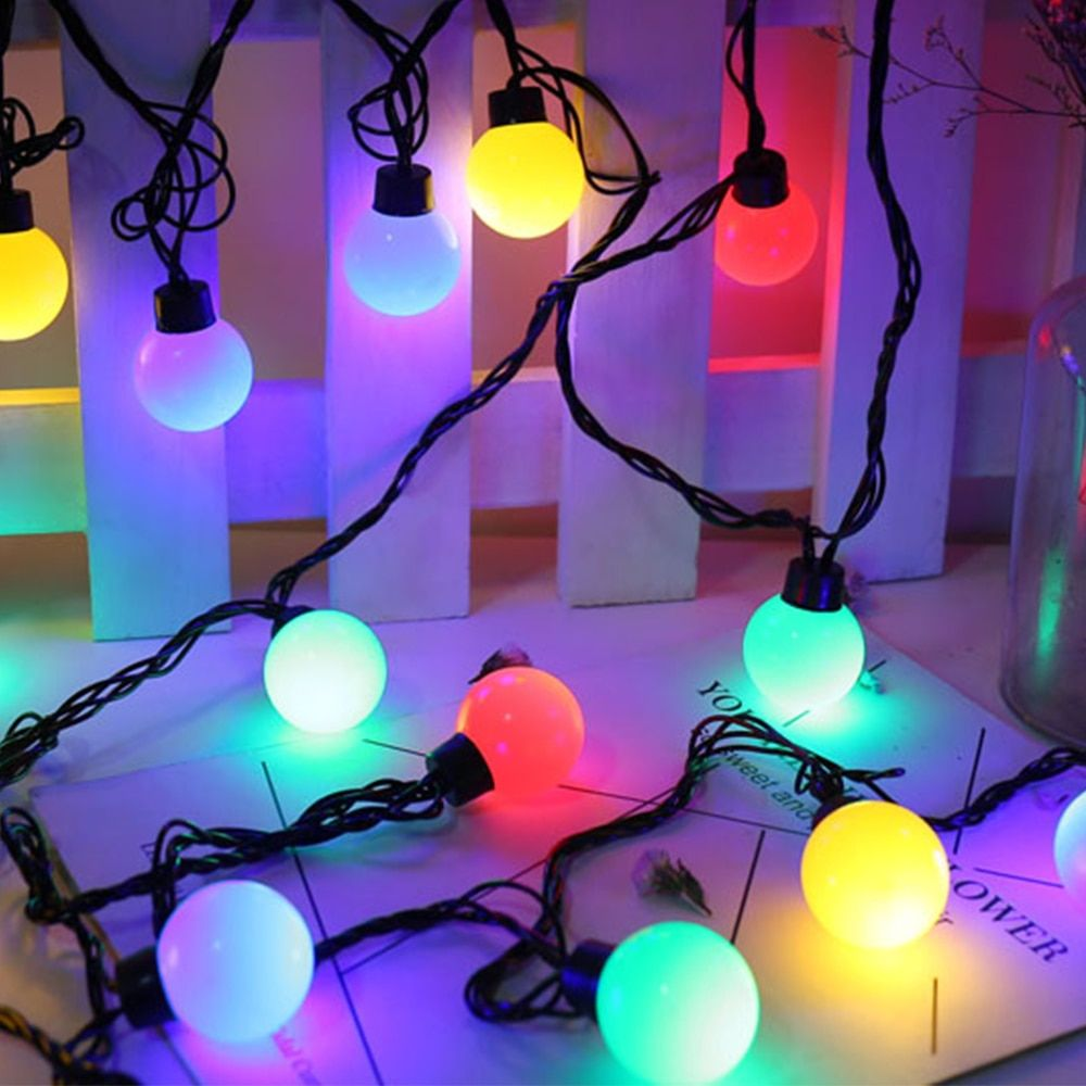 5M Lighting Strings G40 Bulb Christmas Lights RGB 20 LEDs Licht Snoer Tuin Fairy String Light Luces De Navidad Party Patio Decor