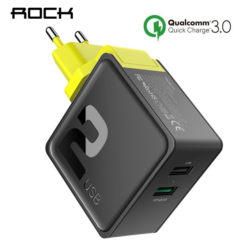 ROCK Dual USB QC 3.0 Charger For iphone 7 8 ipad Samsung S8 Huawei FCP 30W Universal EU US Plug Fast Charging Phone Wall Adapter