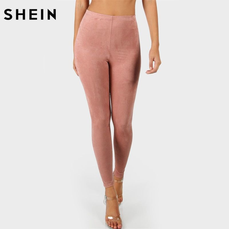 SHEIN High Waisted Suede Leggings Solid Pink Workout Leggings Activewear Fitness Clothing Autumn Womens Leggings Pants