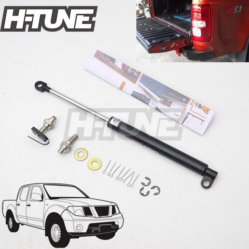 H-TUNE 4x4 Pickup Stainless Steel Rear Tailgate Slow Down Shock Up Lift Gas Strut for Frontier Navara D40 2005-2014