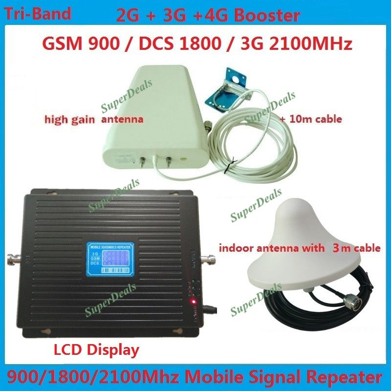 HOT GSM 900 1800 WCDMA 2100 Tri-Band Booster 2G 3G 4G LTE 1800 65dB Mobile Phone Signal Amplifier Cell Phone Repeater for Europe