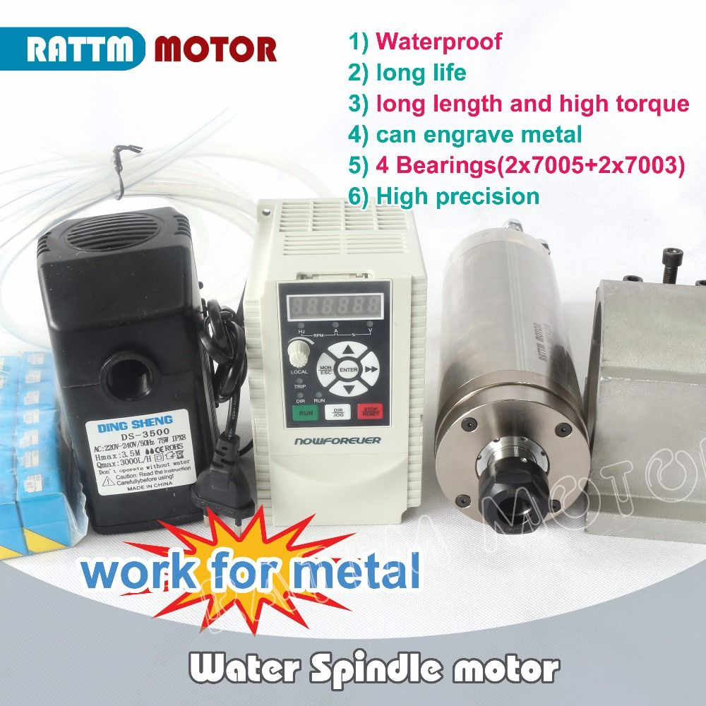 RUS/ EU Ship!! New 2.2kw ER20 Waterproof spindle Water-cooled motor Carved metal &2.2kw Inverter 3HP & 80mm Clamp for CNC Router