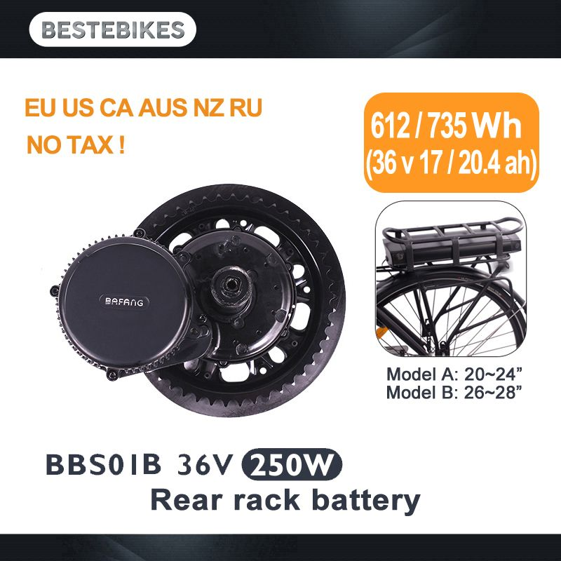 BAFANG motor BBS01B BBS01 250 w 36v17ah/20.4ah hinten rack batterie kit elektrische fiets elektrikli bisiklet bicicleta electrica