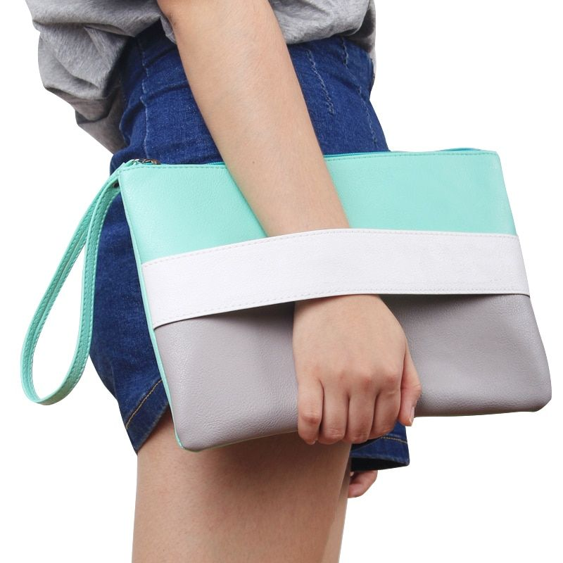 Summer Style Women Handbag  Candy Color  Patchwork  Leather Bag Day Clutches  Bolsa Feminina  Wristlets